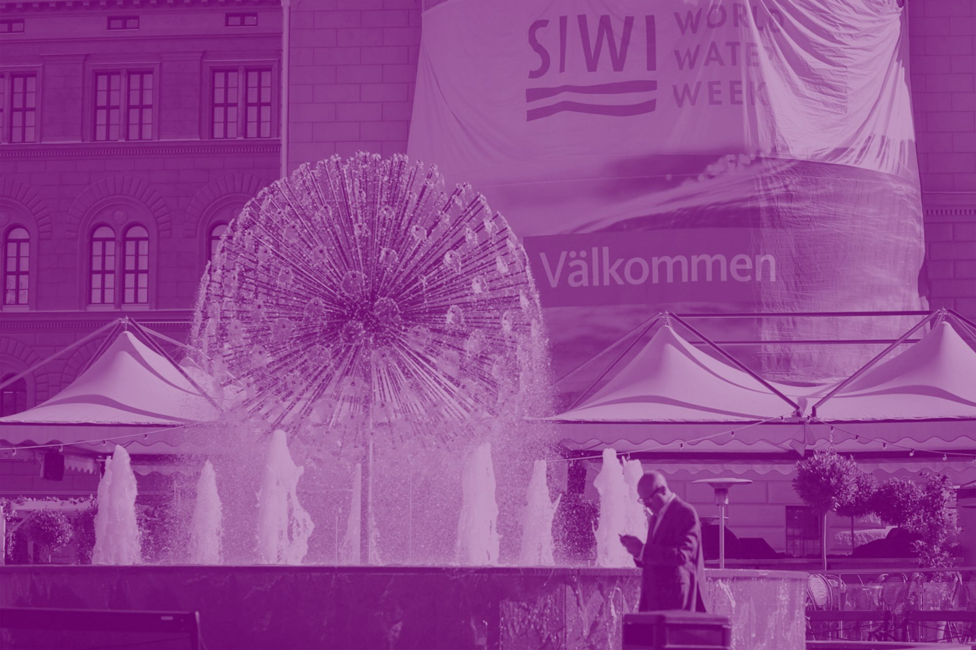 exhibition centre in Sweden with purple tint