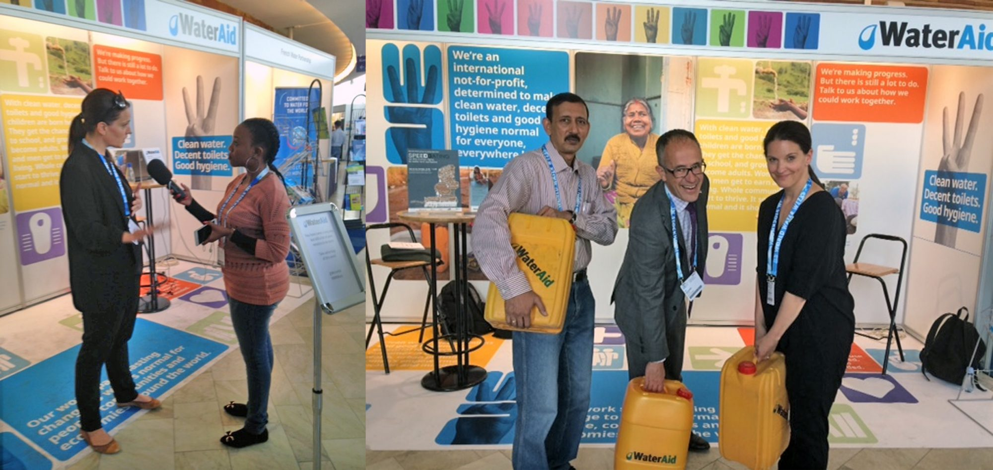 composite of exhibition stand for wateraid in sweden event