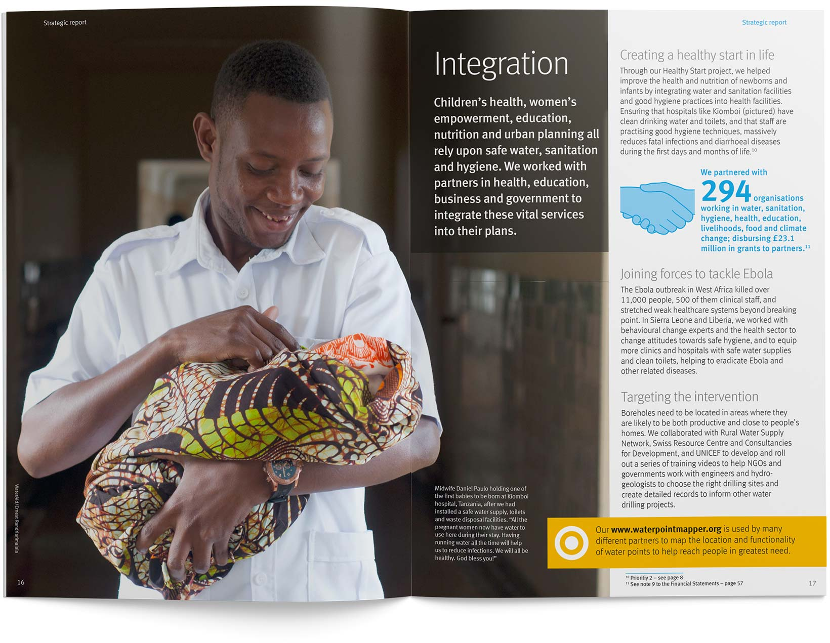 A double page spread of the WaterAid annual review