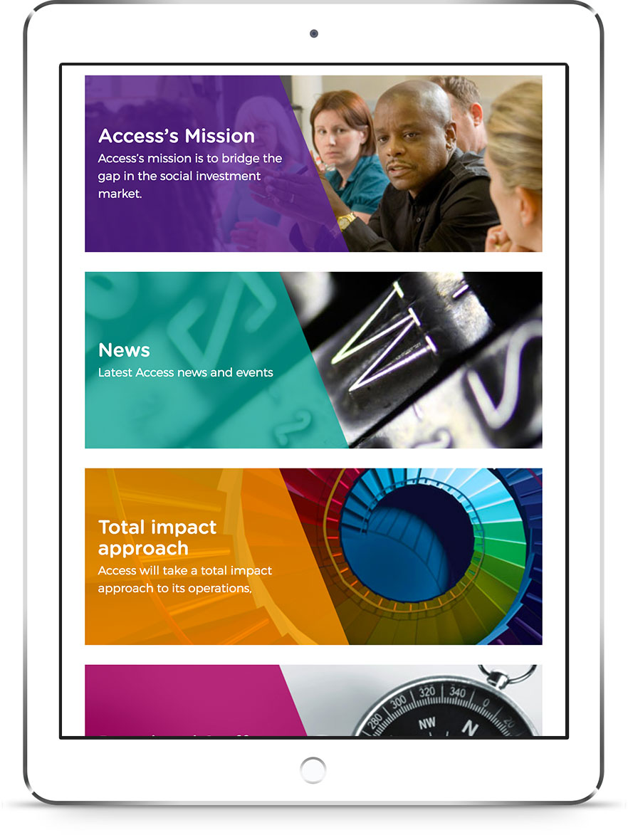 An ipad showing the Access website