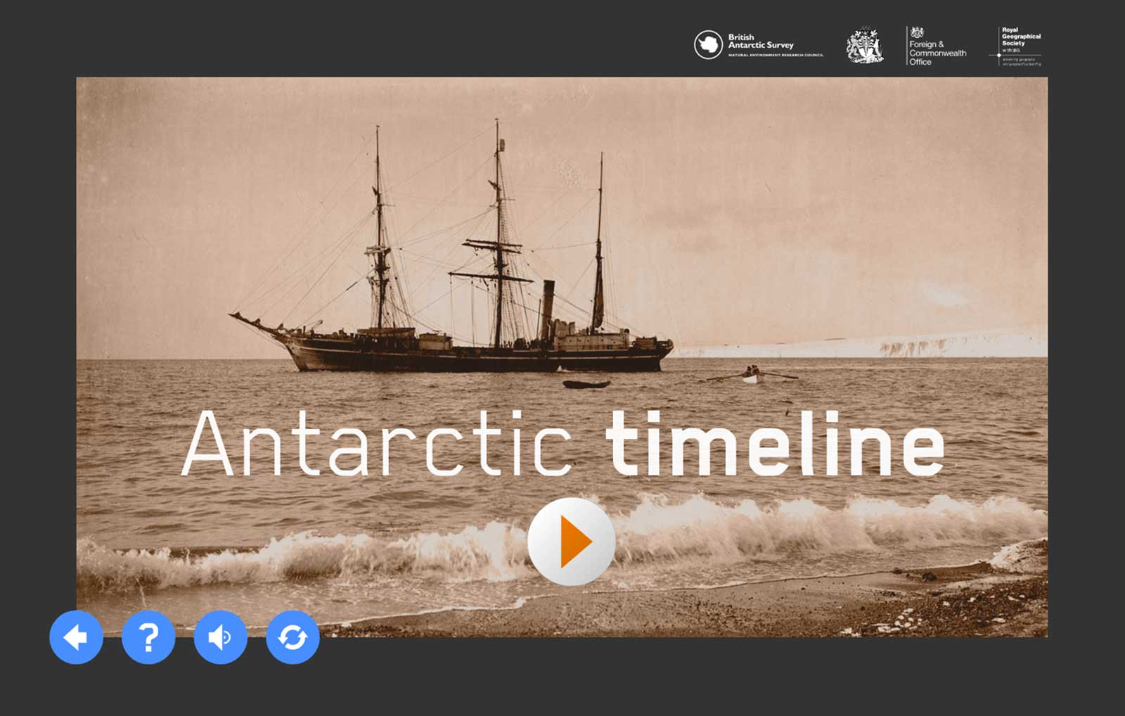 Antarctic timeline activity intro screen