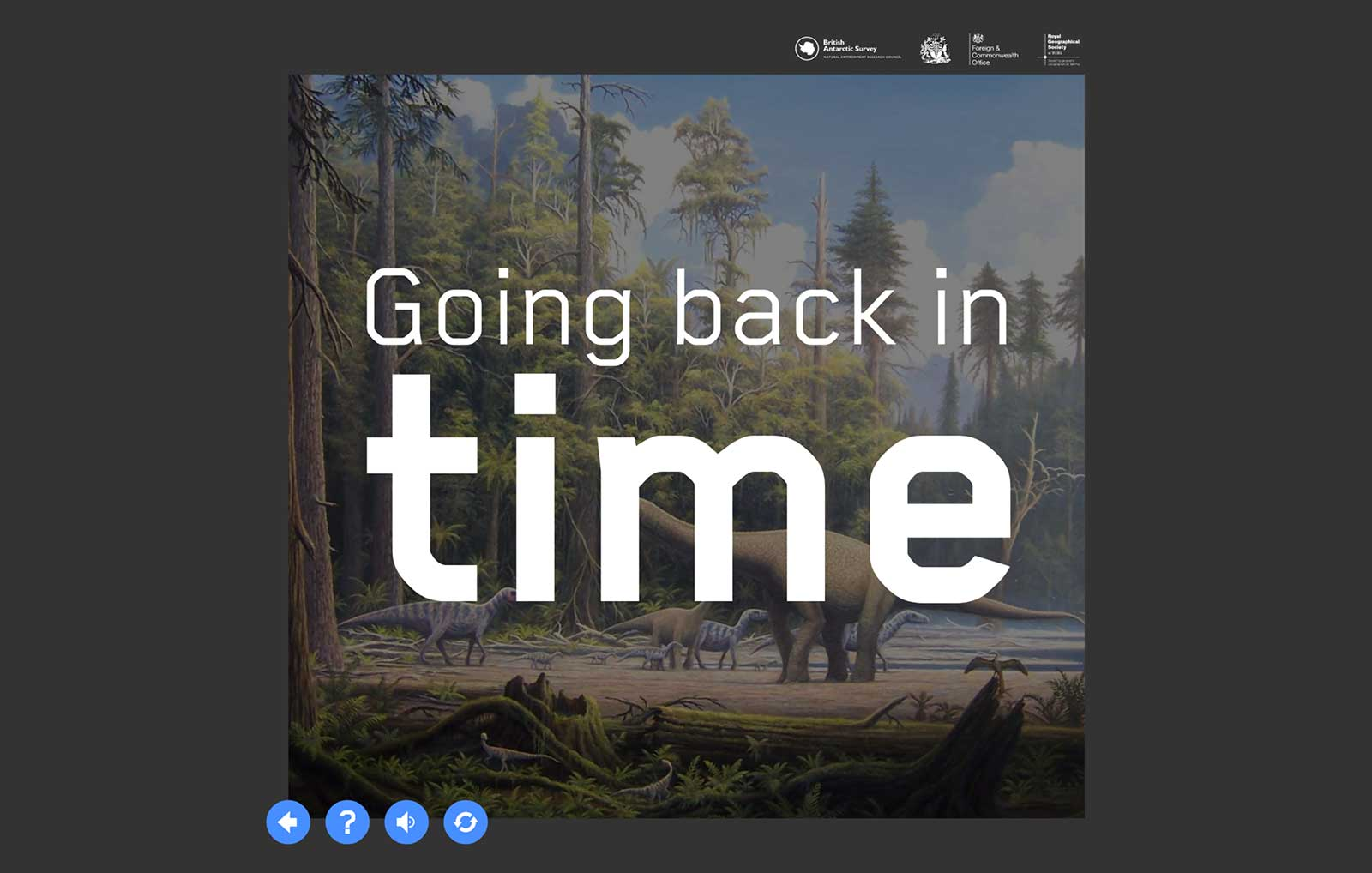 Back in time activity intro screen