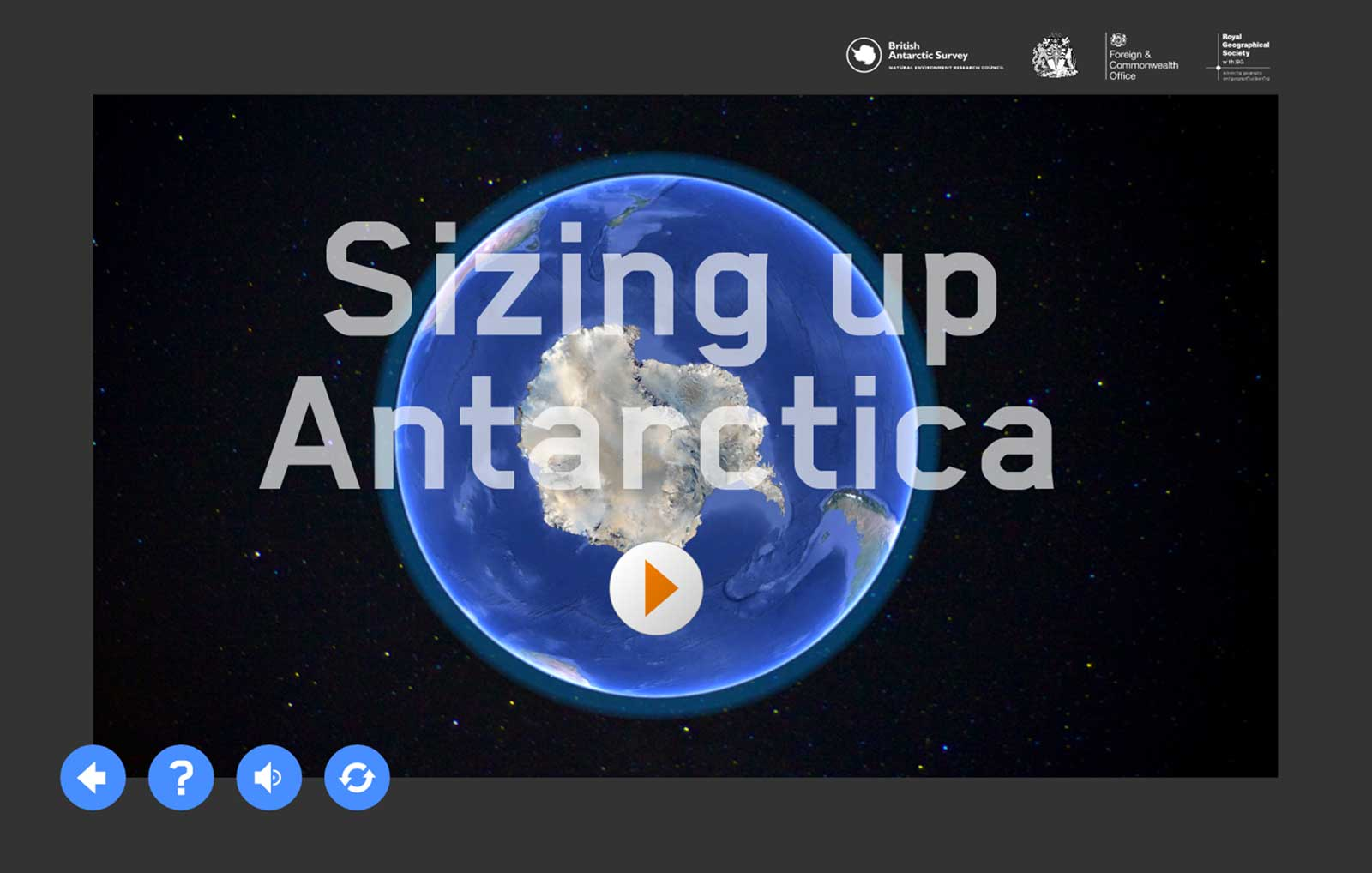 Sizing up Antarctica activity intro screen