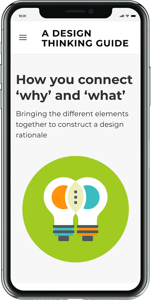 Design Thinking Guide website displayed on a mobile phone