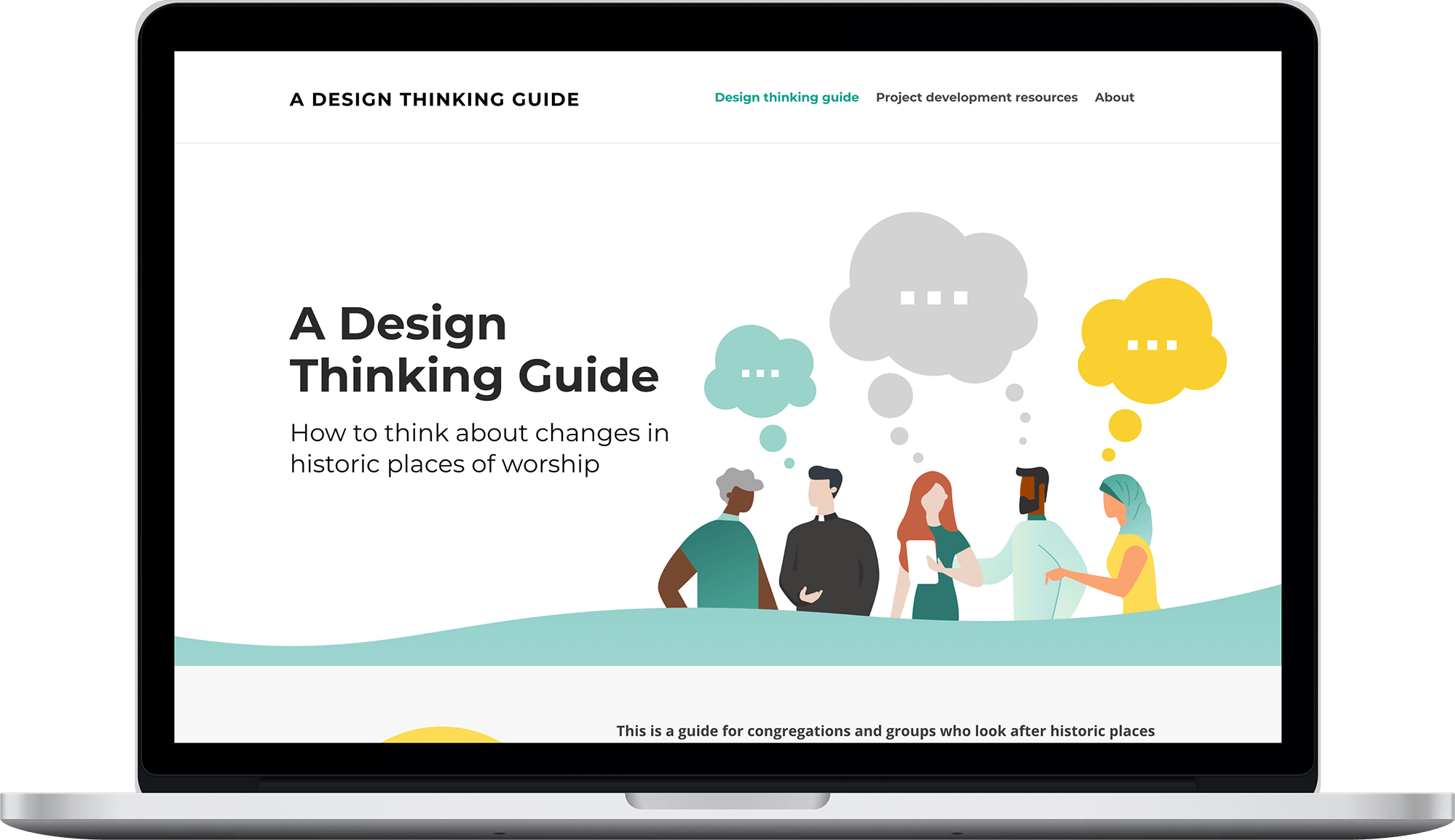 Design Thinking Guide website displayed on a laptop