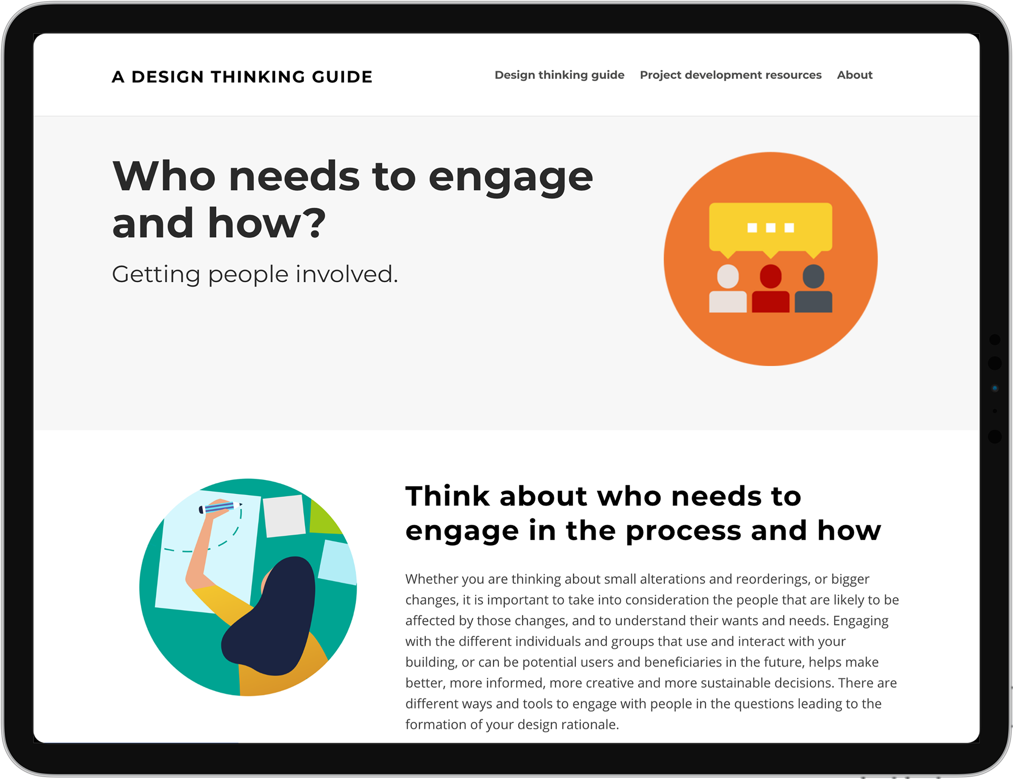 Design Thinking Guide website displayed on a tablet