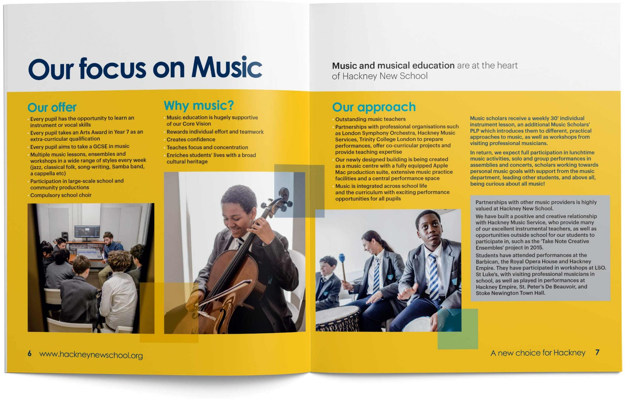 A double page spread from Hackney New School's prospectus