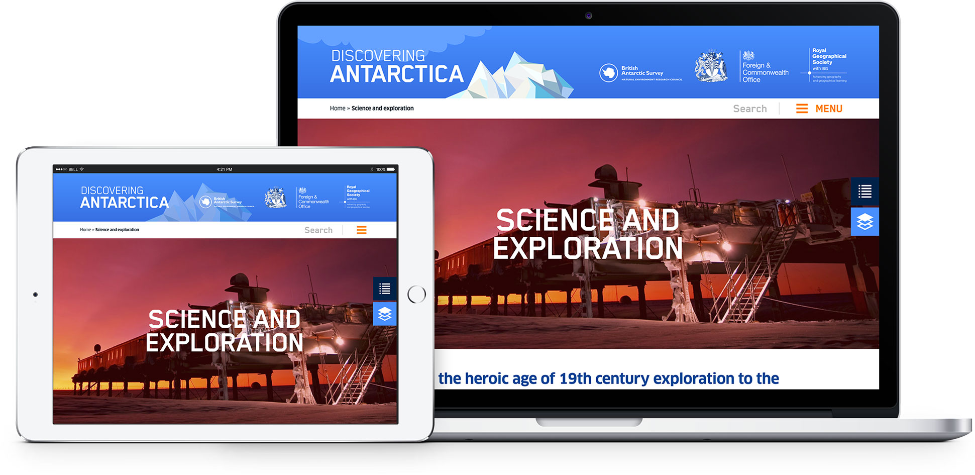 View of Discovering Antarctica website on laptop and ipad