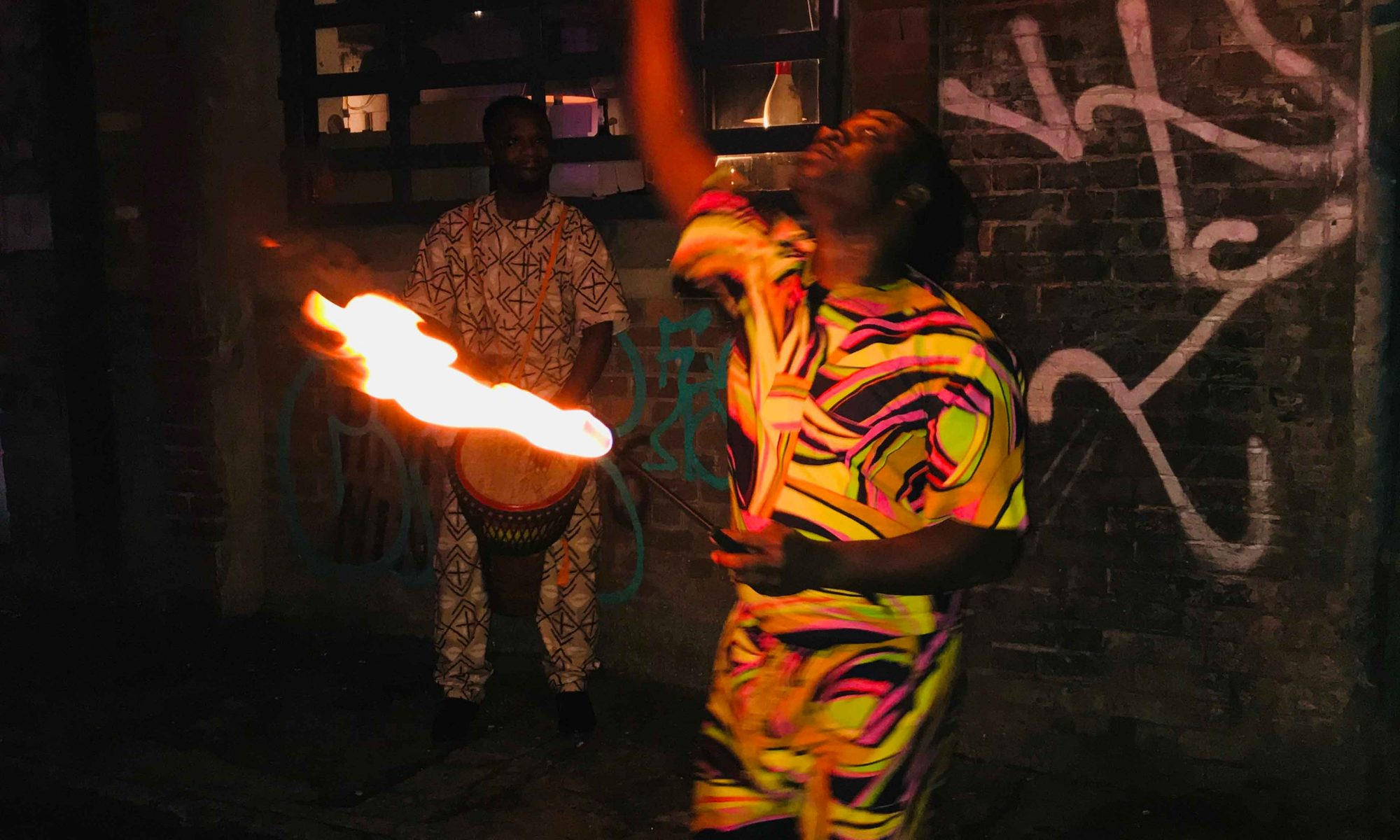 Fire eating performers at the Rock House 2nd birthday party