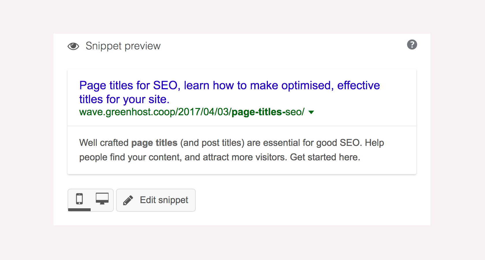 Search engine result snippet, including page title and meta description