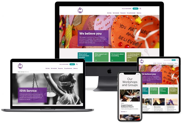 Survivors Network website on a variety of devices