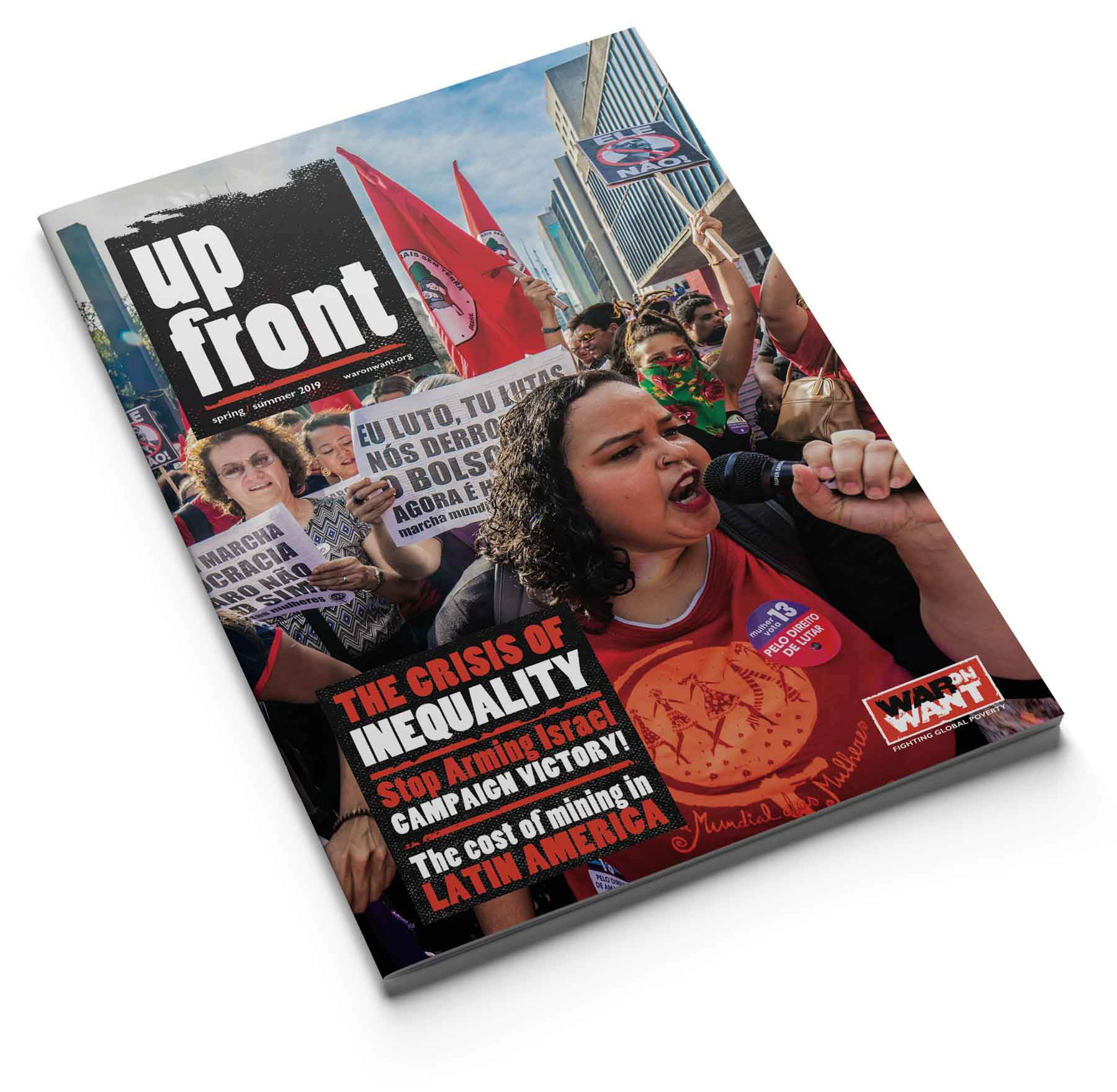 Up Front supporters' newsletter for War on Want - cover