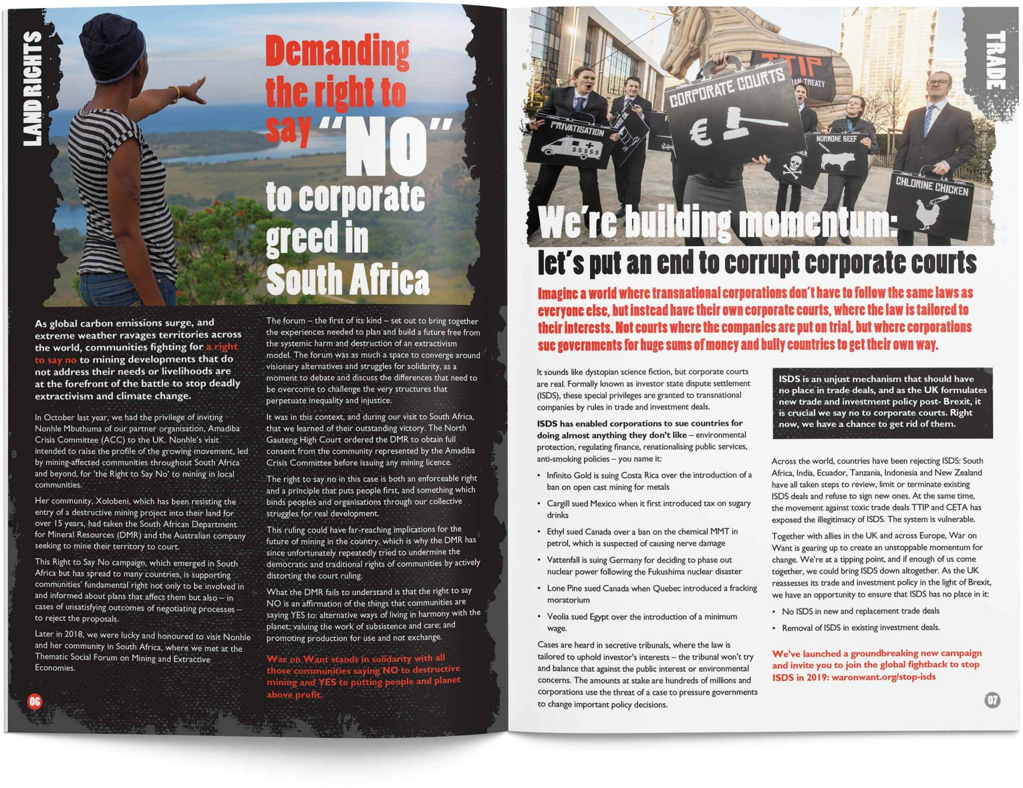 Up Front supporters' newsletter for War on Want - spread